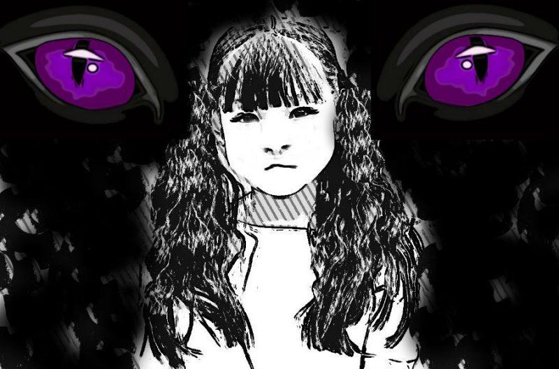 黒板の前の少女の悪魔